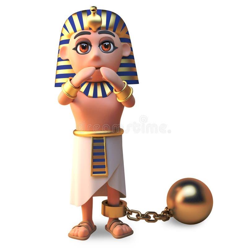 Det faraoTutankhamun teckenet förhindras av en guld- boll och kedja, illustrationen 3d stock illustrationer