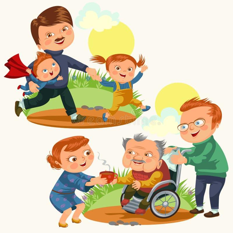 Det fastställda lyckliga kortet för hälsningen för faderdagen, farsagyckel med att gå för ungar parkerar, föräldern av små barns  vektor illustrationer