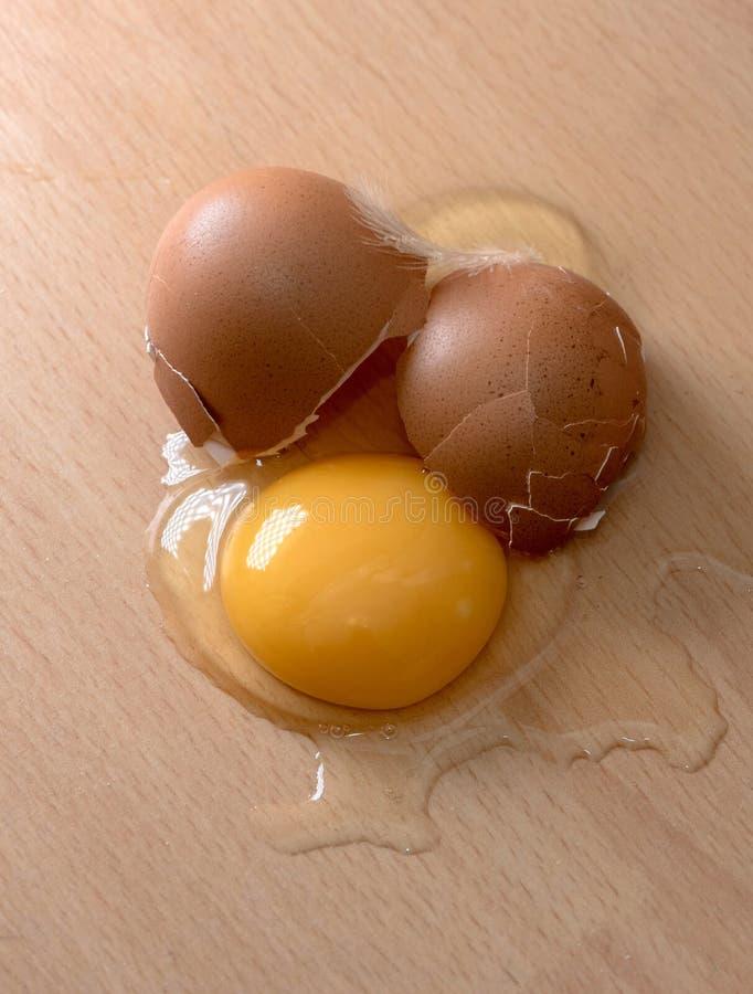 Det fega ägget är brutet arkivfoton