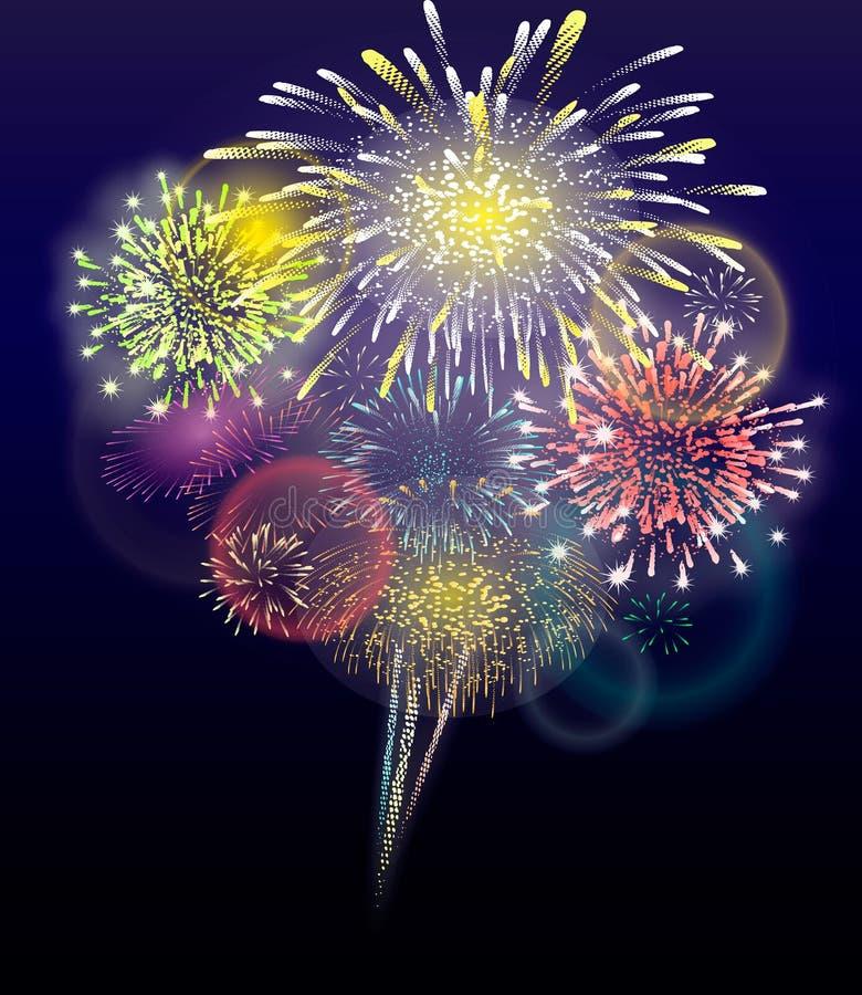 Det festliga färgrika fyrverkerit som brister i olika former som mousserar pictograms, ställde in mot genomskinlig bakgrund Abstr vektor illustrationer