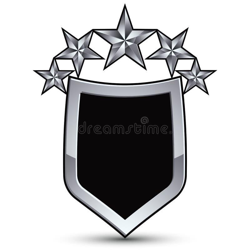 Det festliga svarta vektoremblemet med översikten och fem försilvrar decorat stock illustrationer