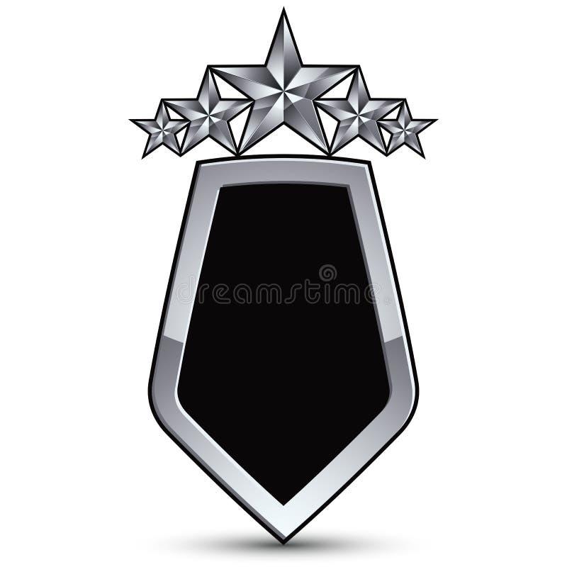 Det festliga svarta vektoremblemet med översikten och fem försilvrar stjärnor stock illustrationer
