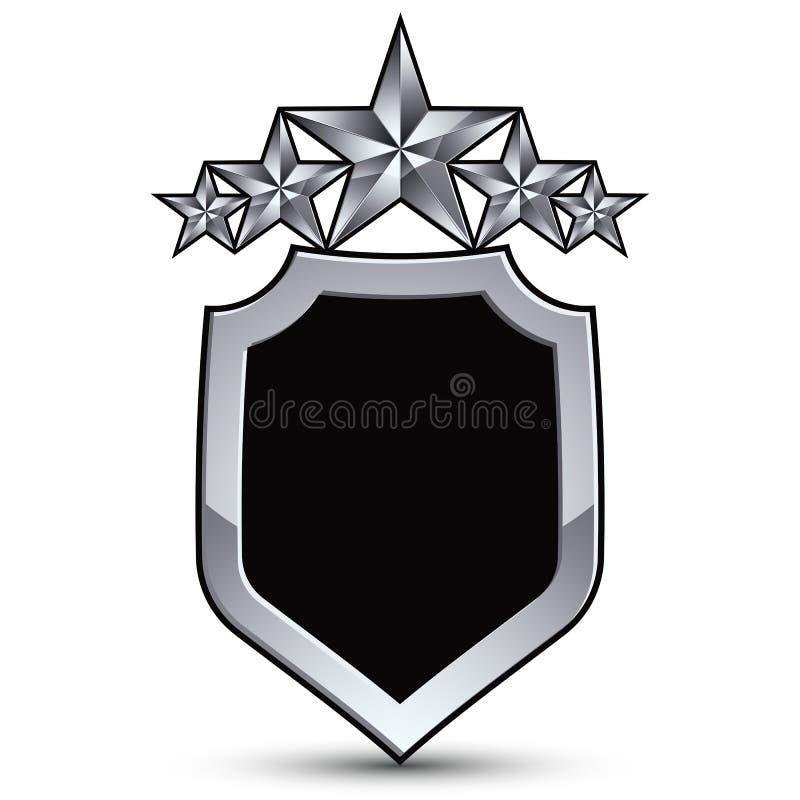 Det festliga svarta vektoremblemet med översikten och fem försilvrar stjärnor vektor illustrationer