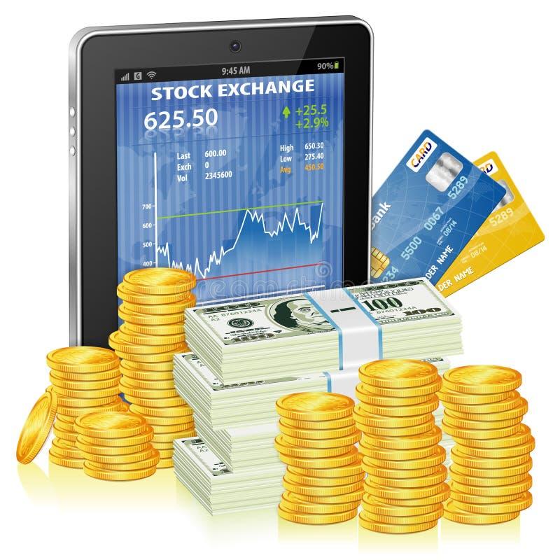 Det finansiella begreppet - gör pengar på internet stock illustrationer