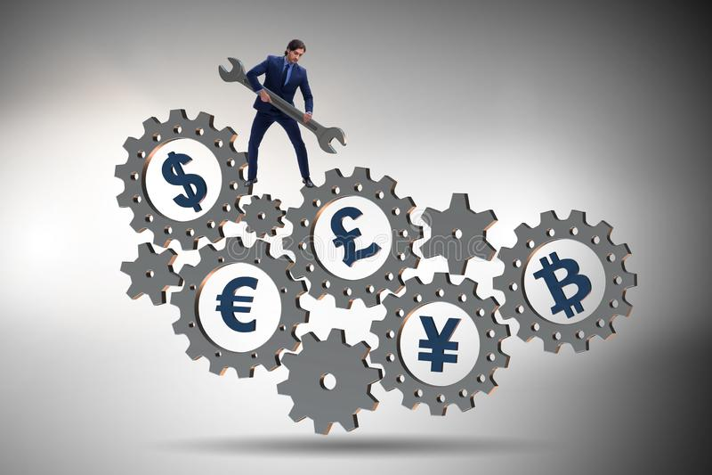 Det finansiella begreppet med olika valutor arkivbilder