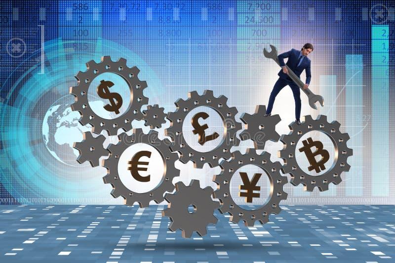 Det finansiella begreppet med olika valutor royaltyfri foto
