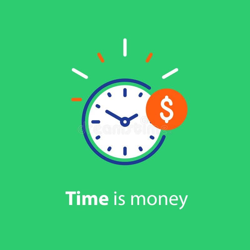 Det finansiella begreppet, pengarinvesteringen, tid är pengarlinjen symbol vektor illustrationer