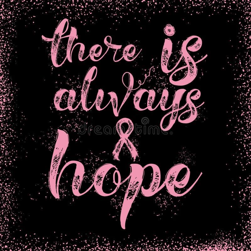 Det finns alltid hopp Inspirerande citationstecken om bröstcancermedvetenhet vektor illustrationer