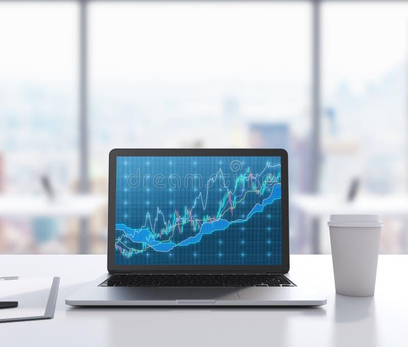 Det finns en bärbar dator med forexdiagrammet på skärmen, det lagliga blocket och en kopp kaffe på tabellen En modern arbetsplats arkivfoto