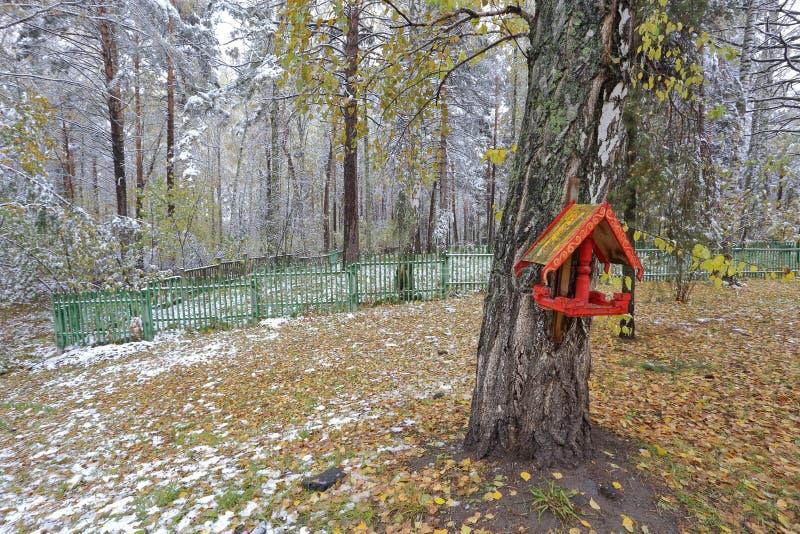 Det finns en voljär på björken som målas i rysk stil i vinter, parkerar royaltyfria bilder