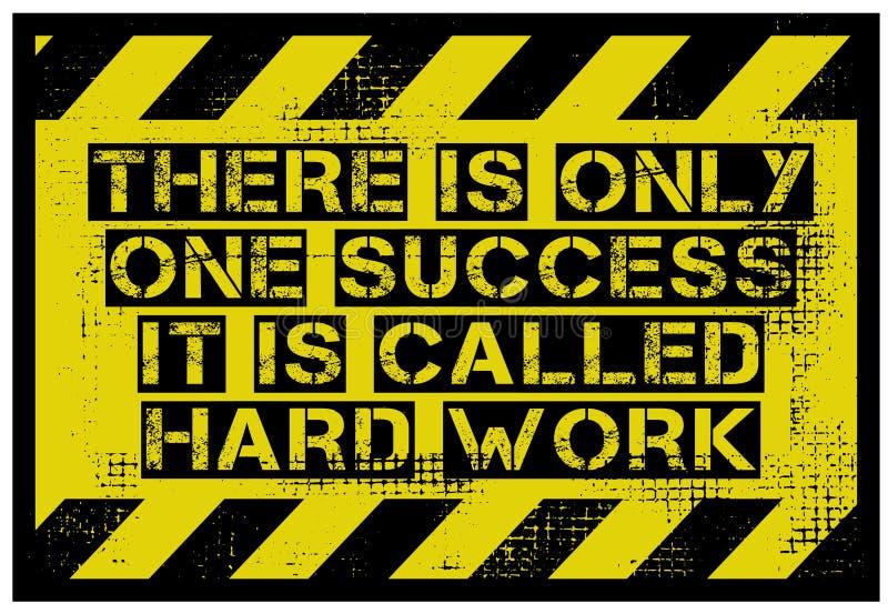 Det finns endast en framgång Det har kallat hårt arbetemotivationcitationstecken vektor illustrationer