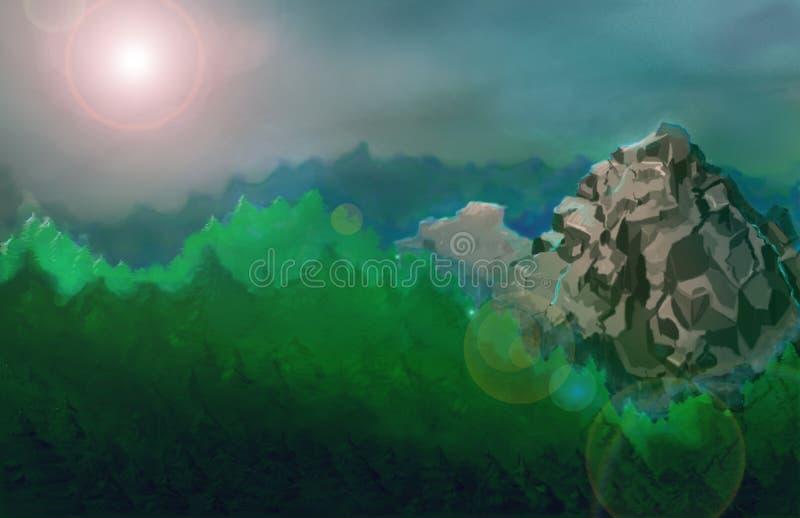 Det finns ett beautifyllandskap med ett berg royaltyfri bild