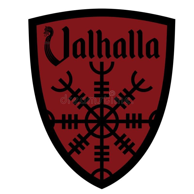 Det forntida europeiska esoteriska tecknet - rodern av vördnad, inskriften Valhalla och den heraldiska skölden vektor illustrationer