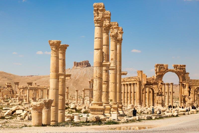 Det forntida fördärvar av palmyraen, Syrien royaltyfria bilder