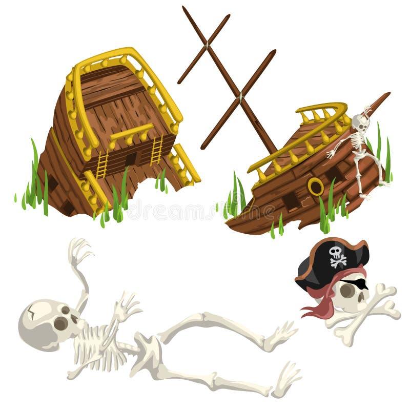 Det forntida förstörda skeppet och skelettet piratkopierar stock illustrationer