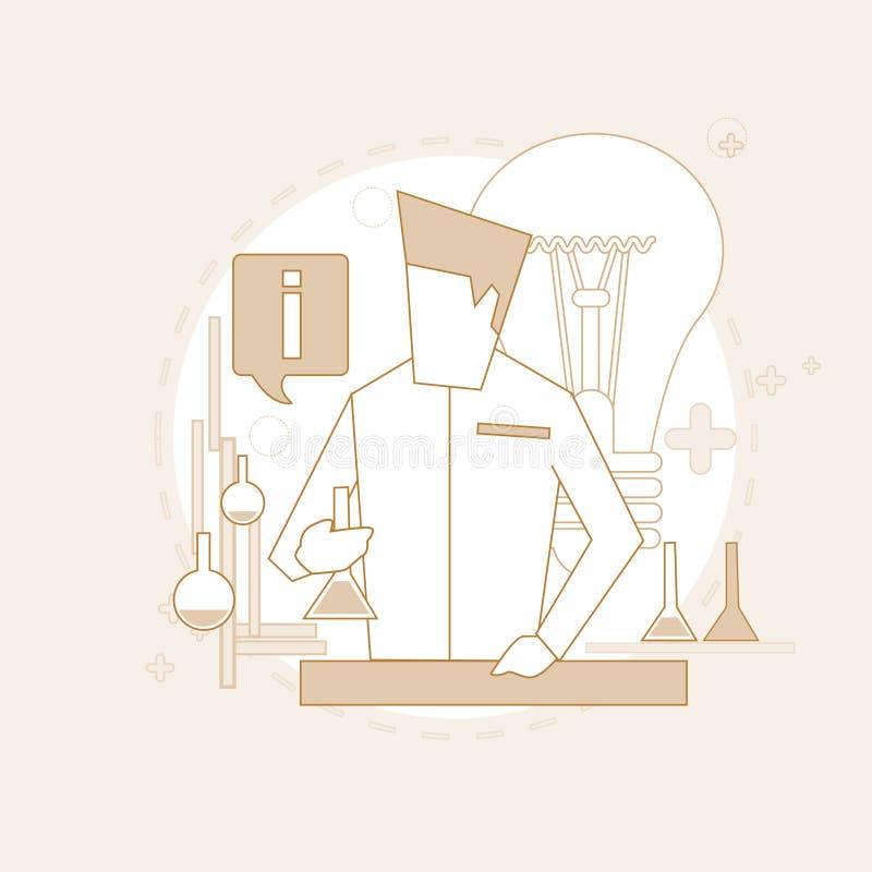 Det forskareWorking Research Chemical laboratoriumet gör linjen tunnare royaltyfri illustrationer
