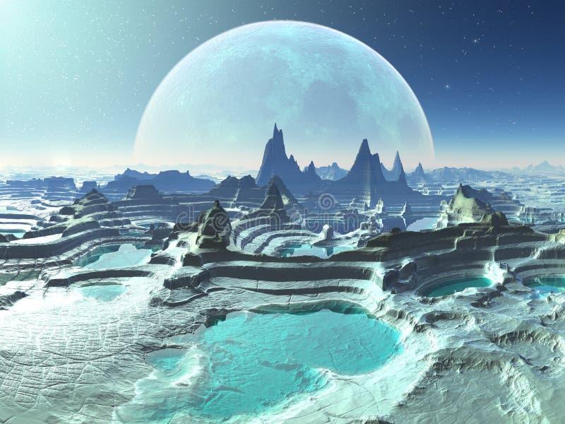 det främmande månbelysta planet pools rocken royaltyfri illustrationer