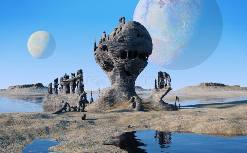 Det främmande planetlandskapet med sjöar och konstiga vaggar bildande royaltyfri bild