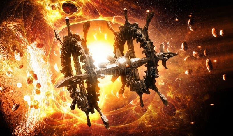 Det främmande rymdskeppet snedvrider vektor illustrationer