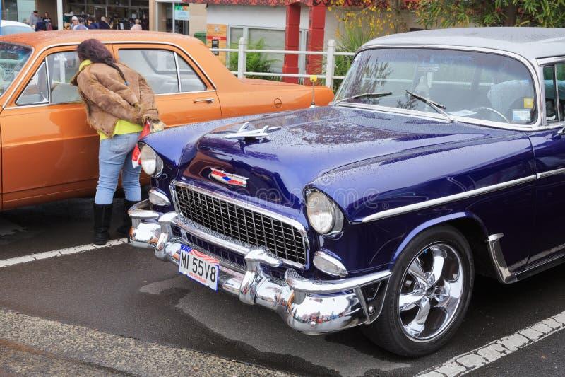 Det främre slutet av en Chevrolet 1955 Bel Air royaltyfri fotografi