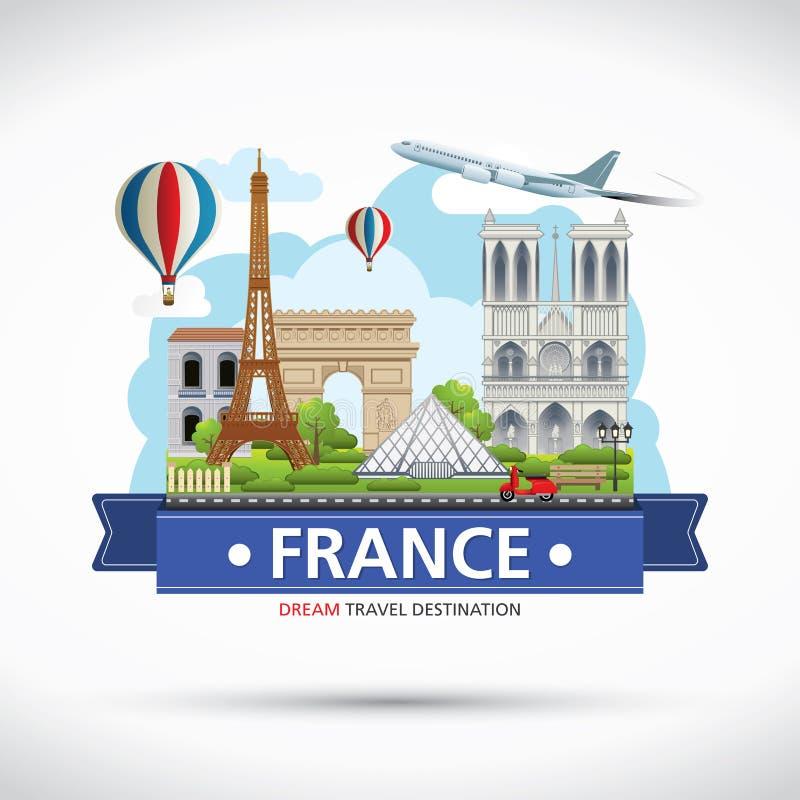 Det Frankrike loppet drömmer destinationen, Frankrike loppsymboler, symboler av Frankrike, gränsmärke royaltyfri foto