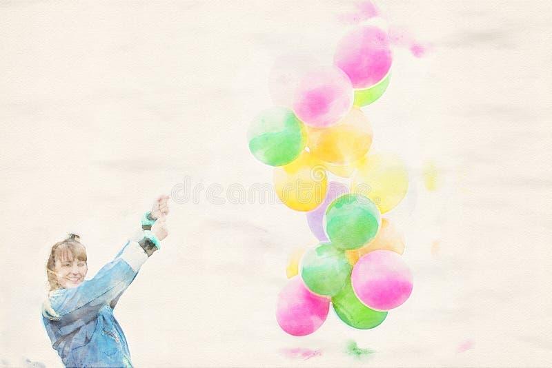 Det fria för ung kvinna som rymmer färgrika ballonger vektor illustrationer
