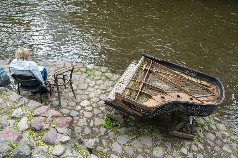 Det fria tillst?ndet av Uzupio, ett omr?de i Vilnius royaltyfri fotografi