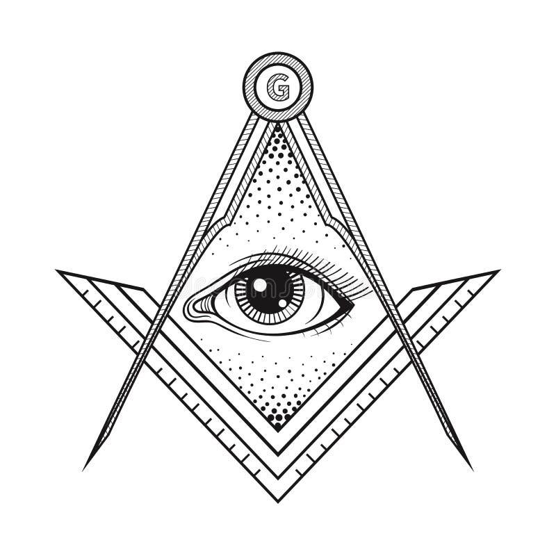 Det frimurar- fyrkant- och kompasssymbolet med allt se synar, Freemaso stock illustrationer
