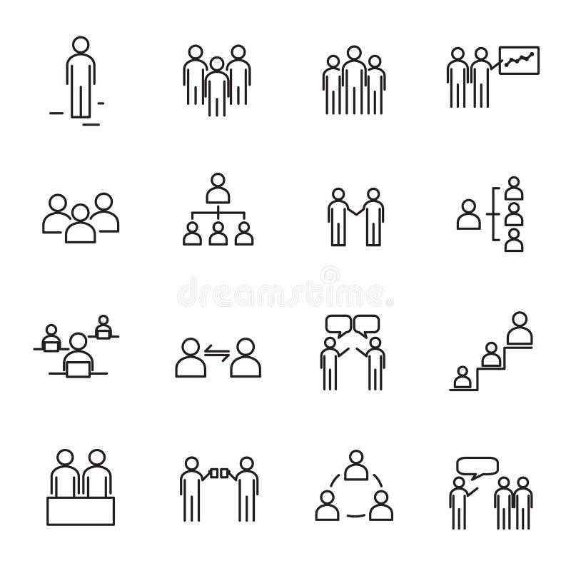 Det funktionsdugliga folket och den tunna linjen symbol för organisation ställde in vektorn Tecken royaltyfri illustrationer