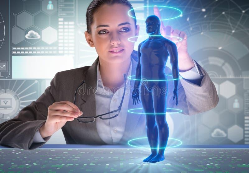 Det futuristiska begreppet för avlägsen diagnostik med affärskvinnan stock illustrationer