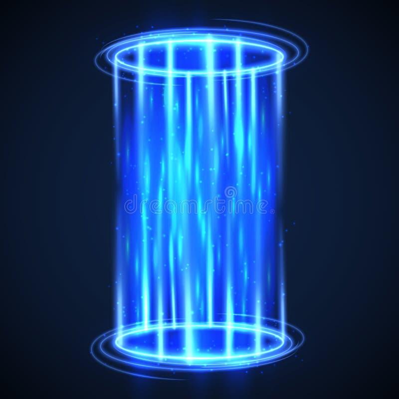 Det futuristiska faktiska hologrammet teleport Hud digital portal High tech vektorbakgrund vektor illustrationer