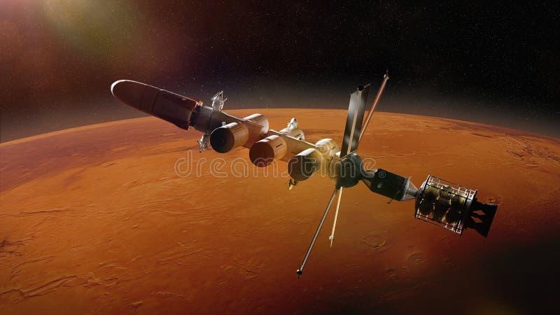 Det futuristiska utrymmeskeppet i omloppet av planeten fördärvar, beskickningen till den röda scienceillustrationen för planeten  royaltyfri illustrationer