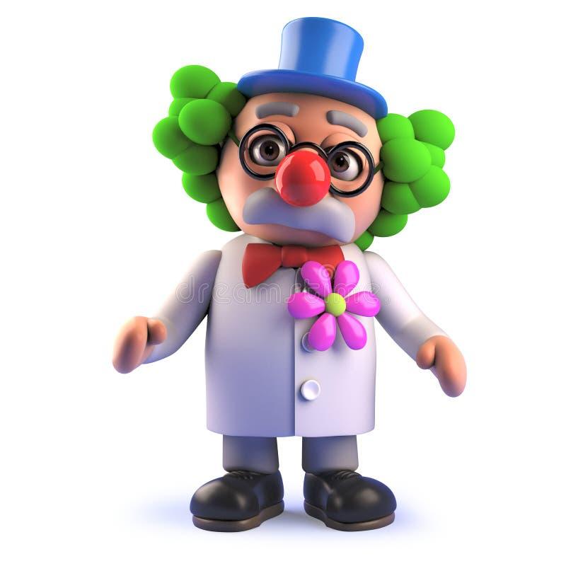 Det galna tokiga forskareteckenet i 3d klädde som en rolig clown i peruk stock illustrationer