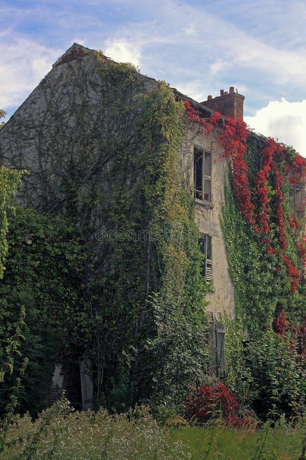 Det gamla övergav huset är den bevuxna murgrönan royaltyfria foton