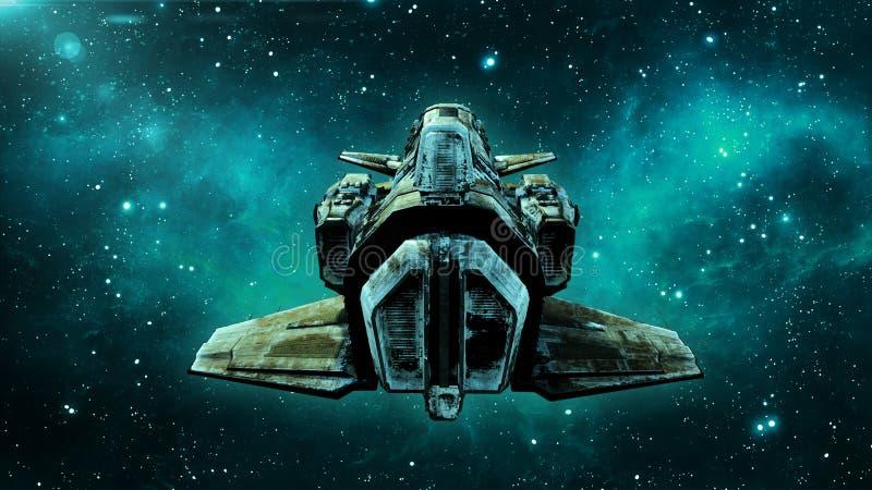 Det gamla främmande rymdskeppet i djupt utrymme, smutsigt rymdskeppflyg i universumet med stjärnor i bakgrunden, ufobaksidasikten royaltyfri illustrationer