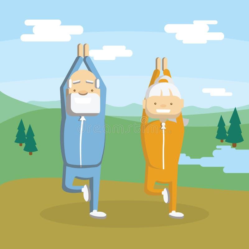Det gamla paret mediterar stock illustrationer