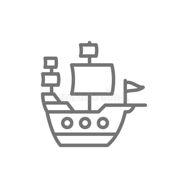 Det gamla skeppet, seglingskyttel, piratkopierar transportlinjen symbol vektor illustrationer