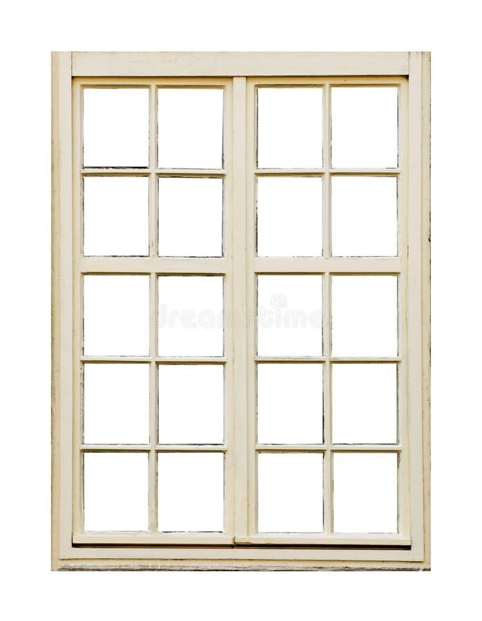 Det gamla träfönstret med tjugo förser med rutor royaltyfria bilder