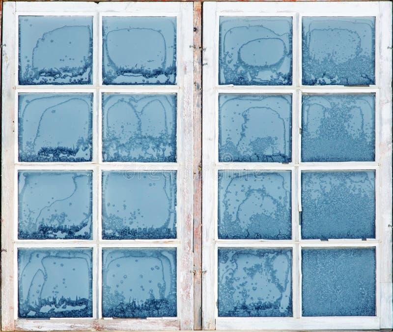 Fönster med frost royaltyfri fotografi