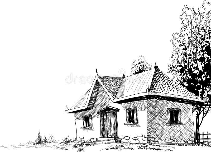 det gammala huset skissar royaltyfri illustrationer