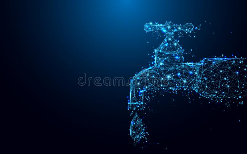 Det genomblöta klappet med droppformen fodrar och trianglar, punktförbindande nätverk på blå bakgrund stock illustrationer