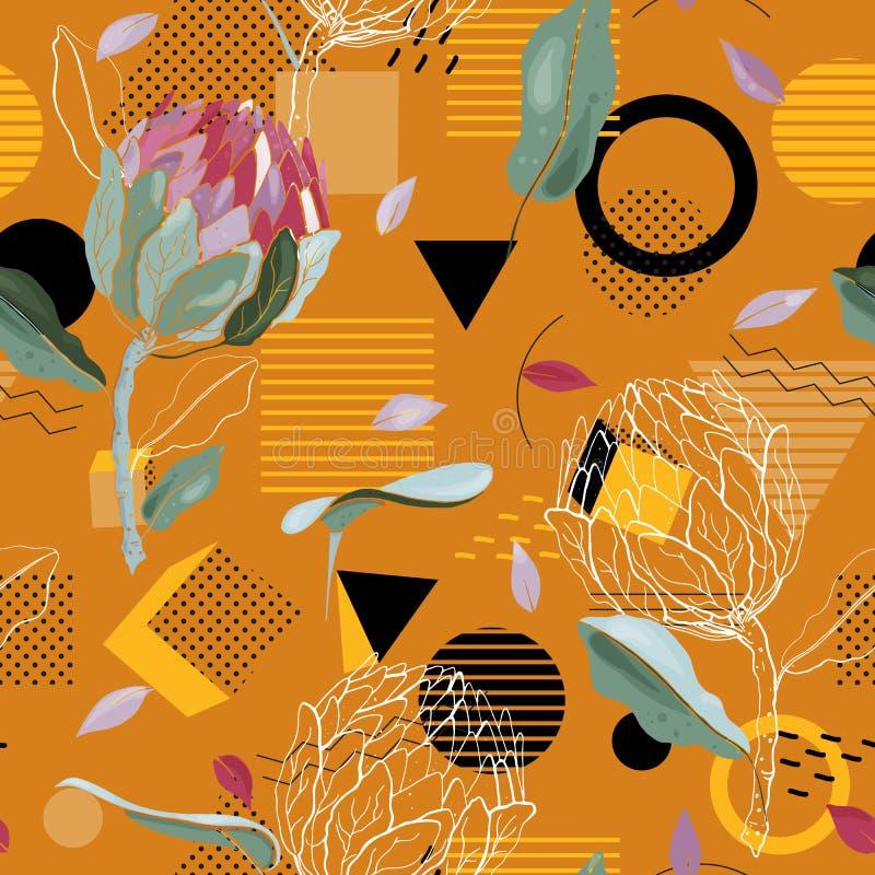 Det geometriska sömlösa trycket med prickar planlägger för mode, kort, tyg och tryck också vektor för coreldrawillustration Moder stock illustrationer