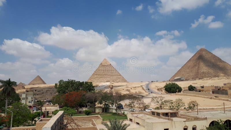 Det Giza pyramidkomplexet arkivfoton