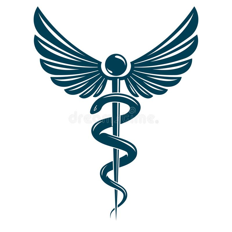 Det gjorda Caduceussymbolet genom att använda fågelvingar och giftiga ormar, läker stock illustrationer