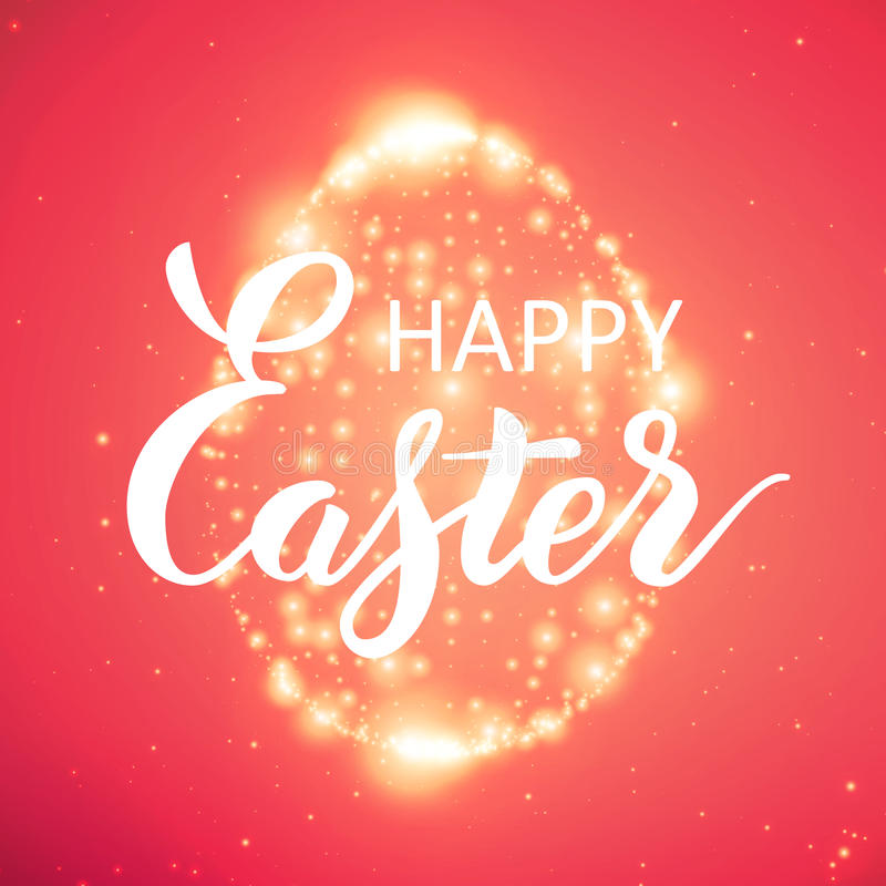 Det glänsande ägget för påsk av glödande punkter stock illustrationer