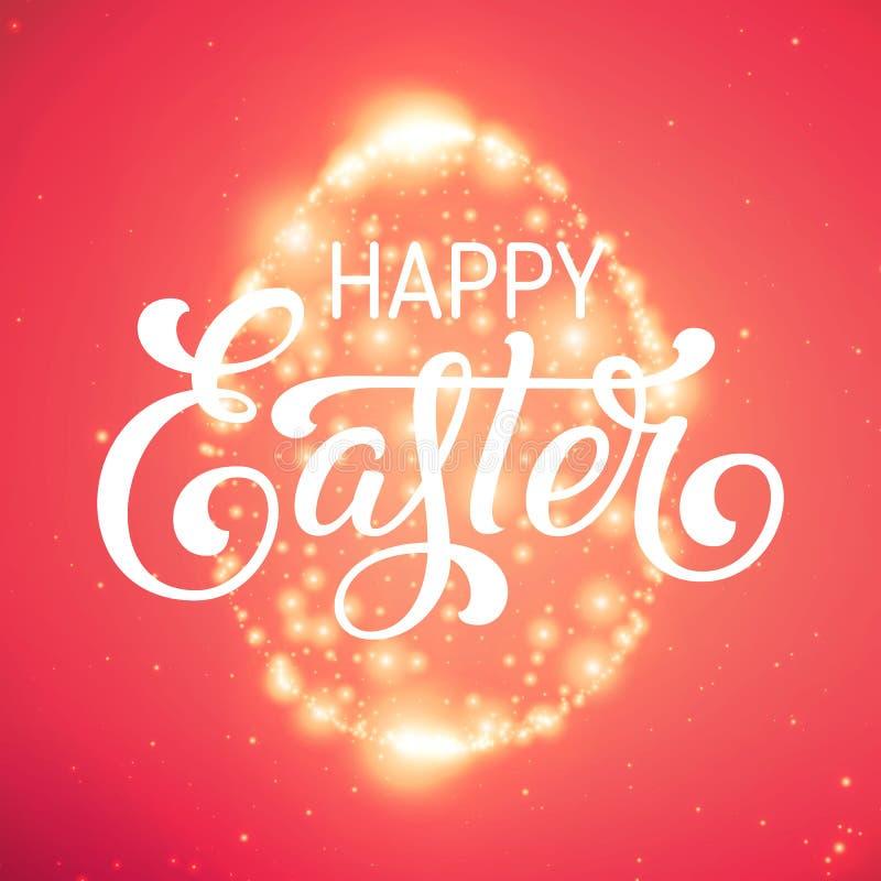 Det glänsande ägget för påsk av glödande punkter Moussera ägget på färgrik röd bakgrund med mycket små signalljus och härligt stock illustrationer