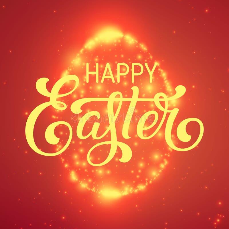 Det glänsande ägget för påsk av glödande punkter Moussera ägget på färgrik röd bakgrund med mycket små signalljus och härligt royaltyfri illustrationer