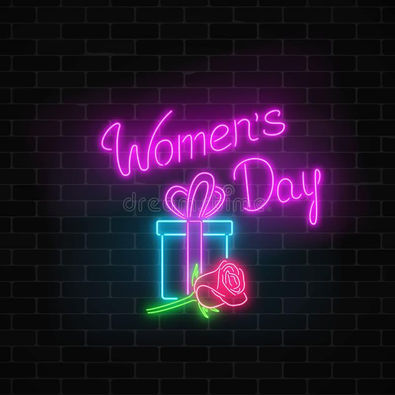 Det glödande neonbanret av 8 marsch semestrar på mörk bakgrund för tegelstenvägg Kort för hälsning för dag för vårvärldskvinnor stock illustrationer
