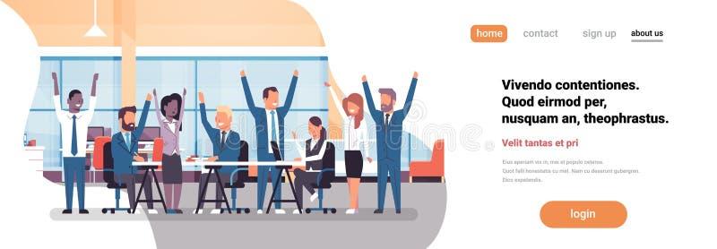 Det gladlynta affärslaget som tillsammans sitter kvinnan för mannen för begreppet för teamwork för folkgruppen den lyftta lyckade vektor illustrationer