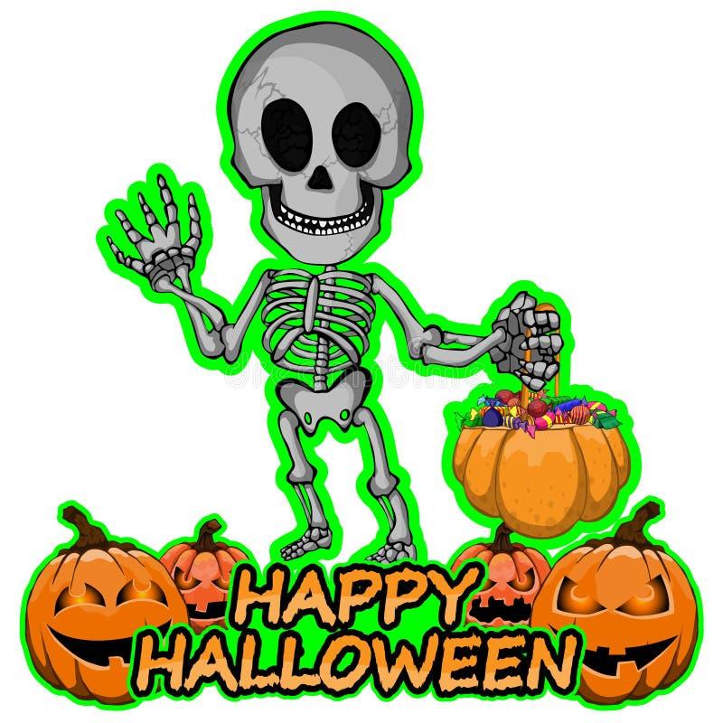 Det gladlynta skelettet önskar lyckliga halloween stock illustrationer